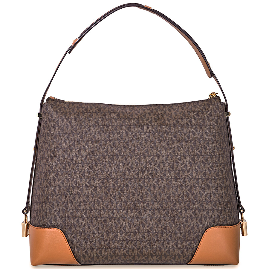 569bbc96ba Michael Kors Crosby Large Signature Logo Print Shoulder Bag - Brown   Acorn  Item No. 30H8GCBL3B-252
