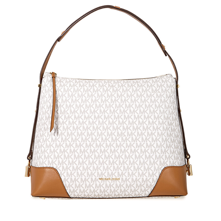 3b9781736aa6 Michael Kors Crosby Large Signature Logo Print Shoulder Bag - Vanilla /  Acorn Item No. 30H8GCBL3B-149