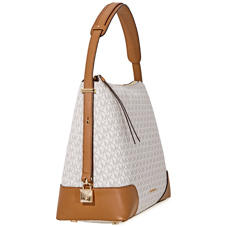 Michael Kors Crosby Large Signature Logo Print Shoulder Bag - Vanilla    Acorn b803eb8419da9