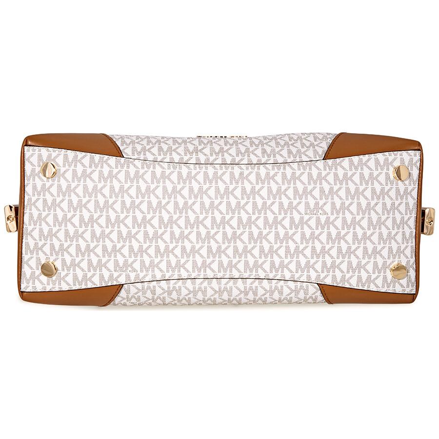 89d30275803 Michael Kors Crosby Large Signature Logo Print Shoulder Bag - Vanilla /  Acorn