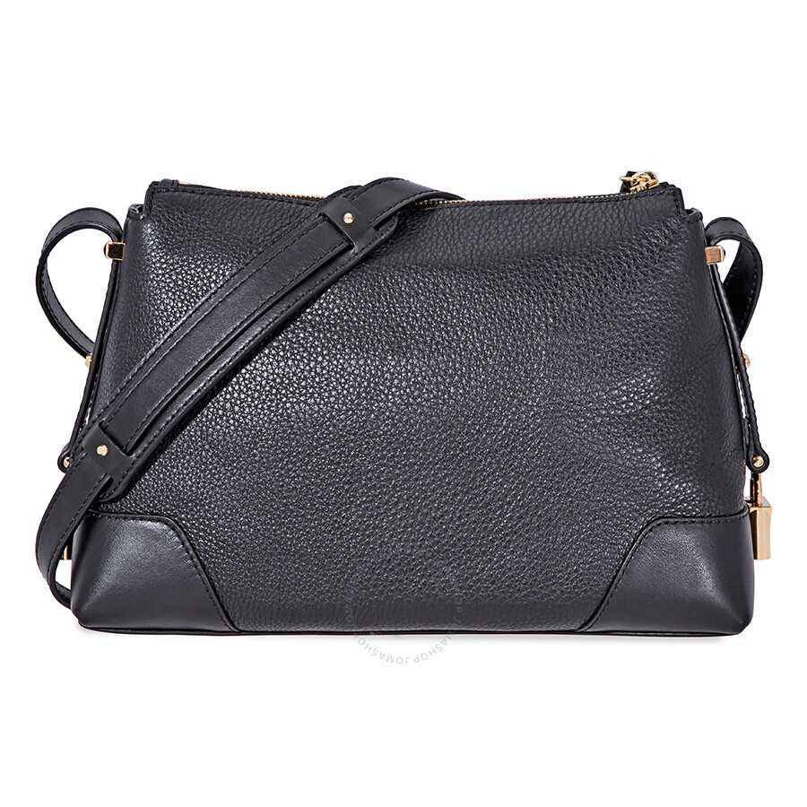 6ca16747e798d Michael Kors Crosby Medium Pebbled Leather Messenger Bag- Black ...
