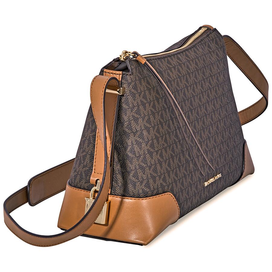 b53151b0c9c5 Michael Kors Crosby Medium Signature Logo Print Messenger Bag - Brown /  Acorn