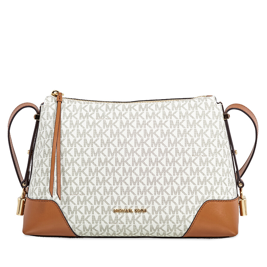 Michael Kors Crosby Medium Signature Logo Print Messenger Bag - Vanilla    Acorn Item No. 30H8GCBM2B-149 4d8f3c5bf2e94