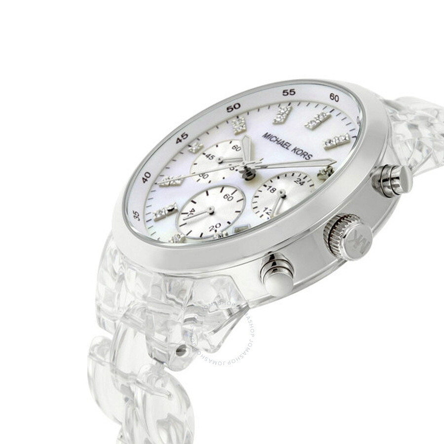 Michael Kors Crystal Chronograph Quartz White Mother of Pearl Dial Watch MK5235