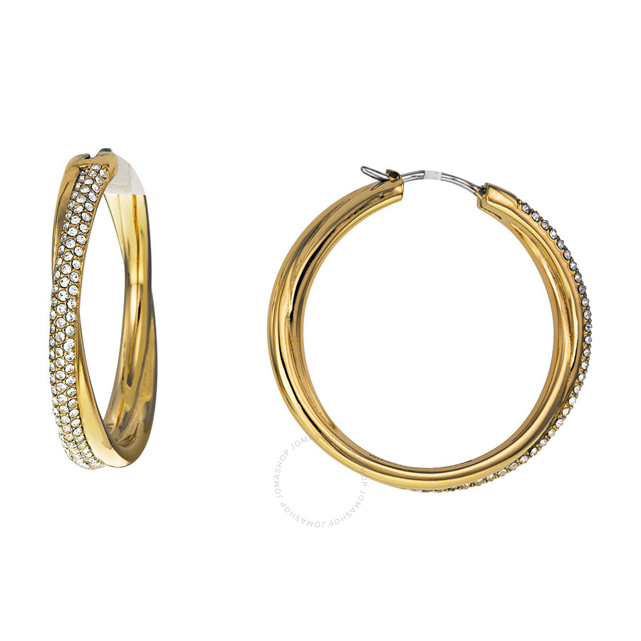 a8cd5091b Michael Kors Crystal Pave Crossover Gold-tone Hoop Earrings Item No.  MKJ3669710