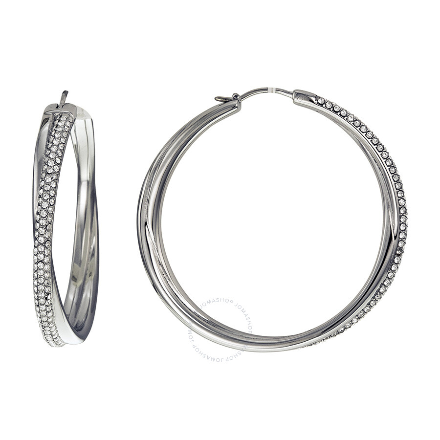 michael hoop earrings michael kors pave crossover silver tone hoop 2762