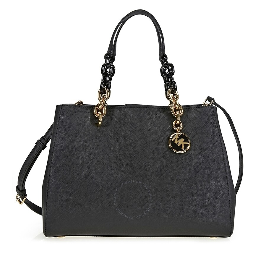 Michael Kors Cindy Laukku : Michael kors cynthia medium leather satchel black
