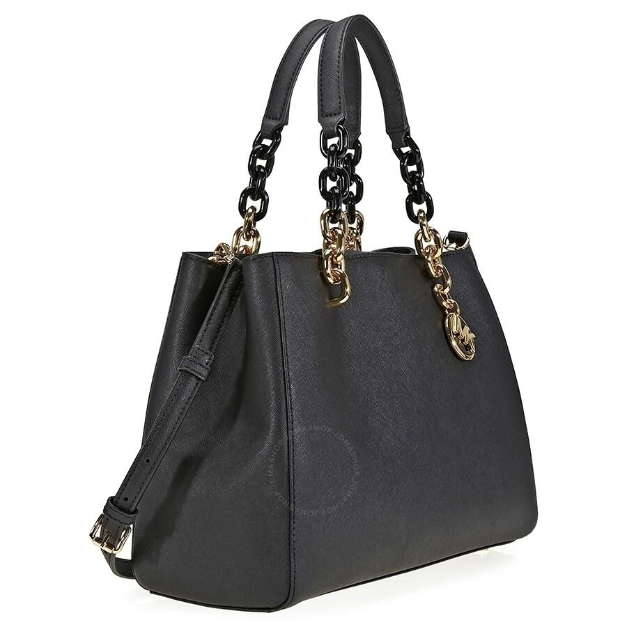 michael kors cynthia medium leather satchel black cynthia michael kors handbags handbags. Black Bedroom Furniture Sets. Home Design Ideas
