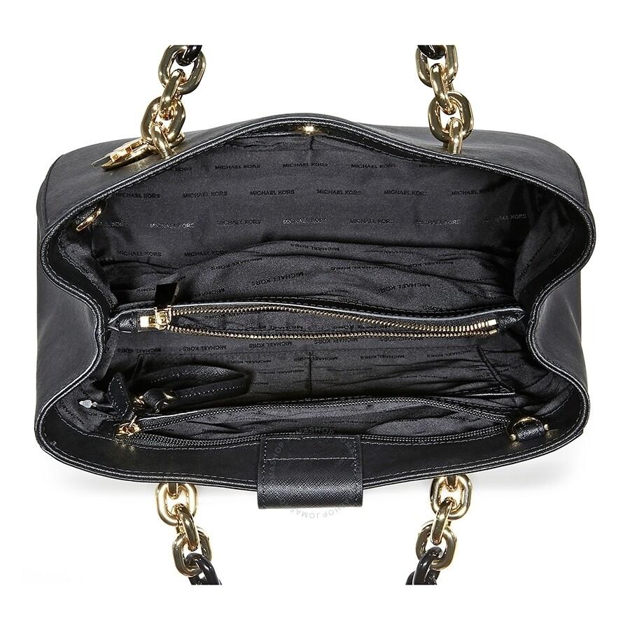 e823de11d Michael Kors Cynthia Medium Leather Satchel - Black - Cynthia ...