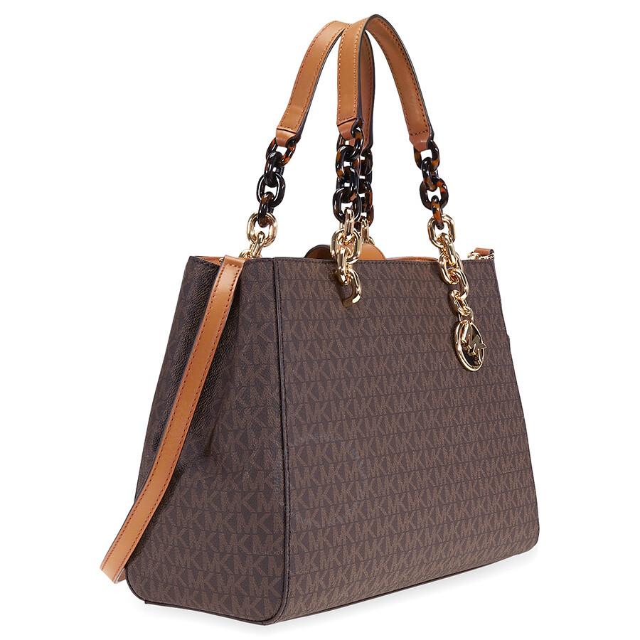 38e3478282fe Michael Kors Cynthia Medium Logo Satchel- Brown - Cynthia - Michael ...