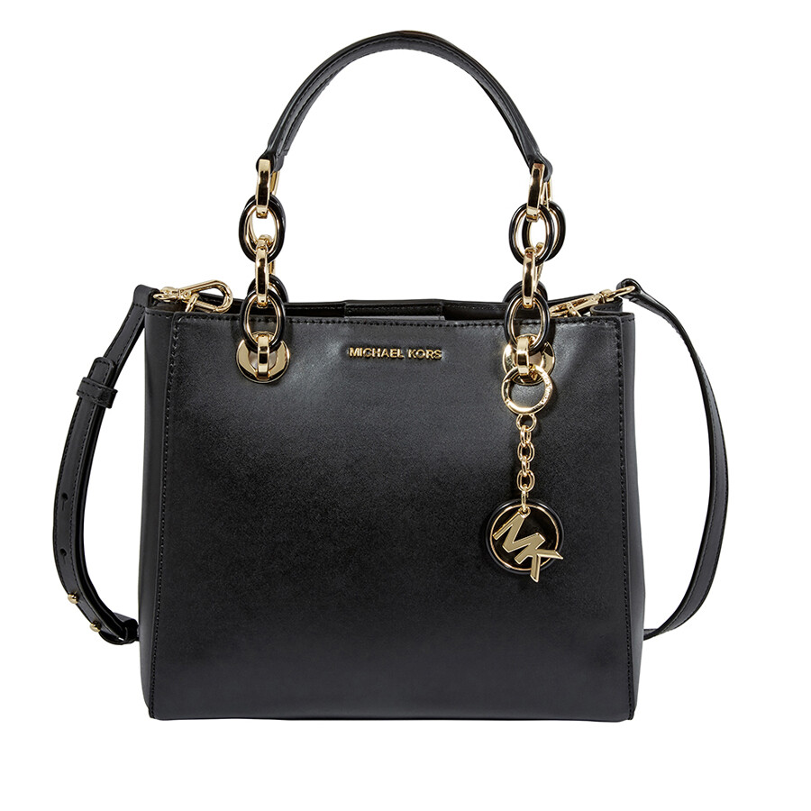 cb9005928693 Michael Kors Cynthia Small Leather Satchel - Black - Cynthia ...