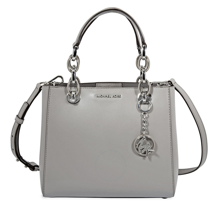 30138f2886df Michael Kors Cynthia Small Leather Satchel- Pearl Grey Item No.  30F8SCYS0L-081
