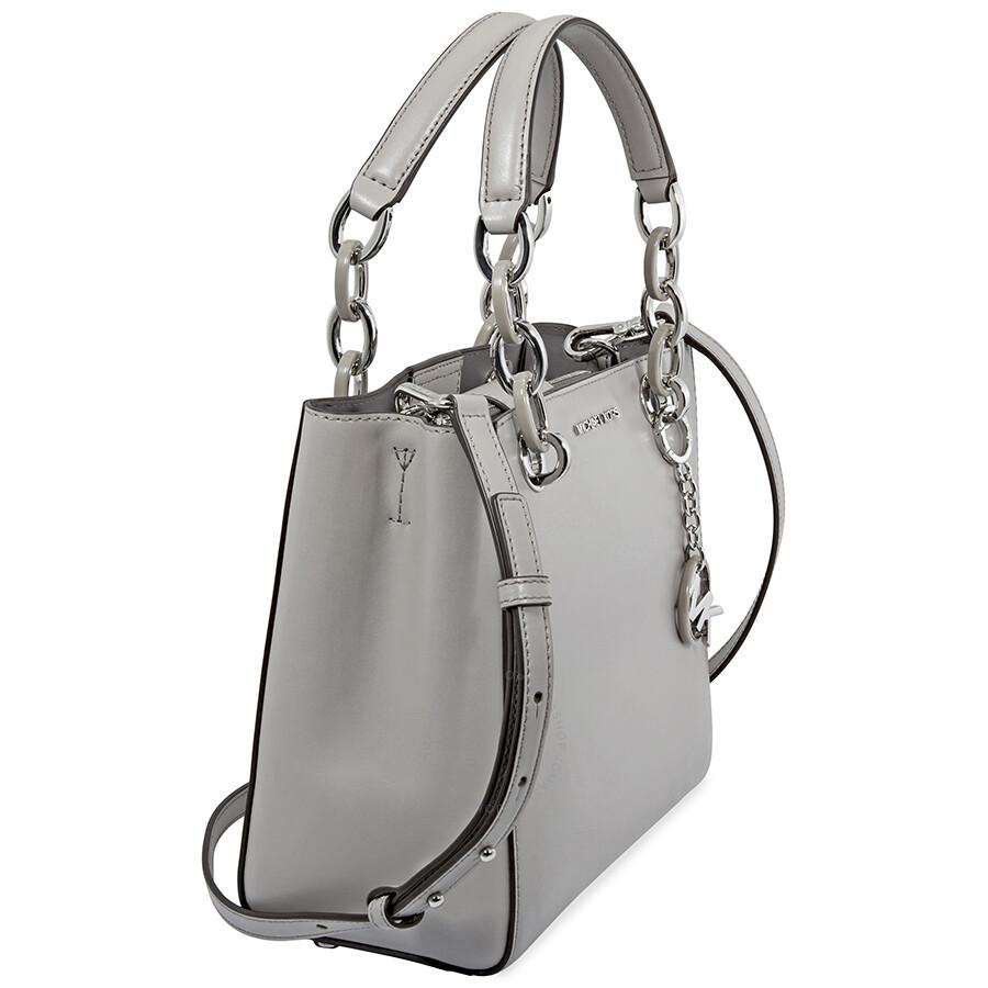 de1f20045c0a Michael Kors Cynthia Small Leather Satchel- Pearl Grey - Cynthia ...