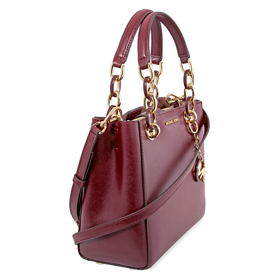 bce437fff75de Michael Kors Cynthia Small Smooth Leather Shoulder Bag - Oxblood ...