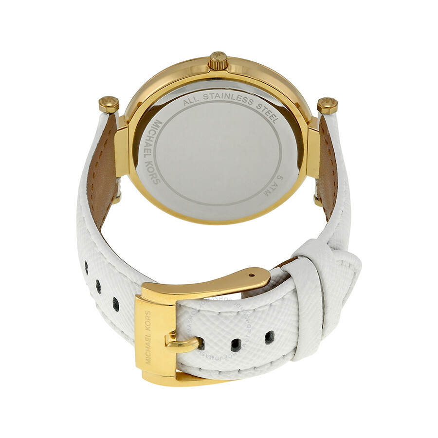 e9cca4836d28 ... Michael Kors Darci Champange Dial White Leather Ladies Watch MK2391 ...