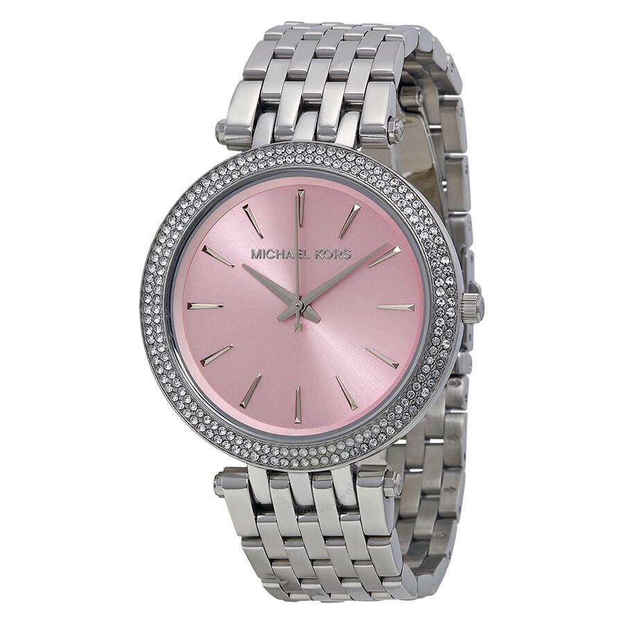 c6cc62c95a26 Michael Kors Darci Pink Dial Stainless Steel Ladies Watch MK3352 ...