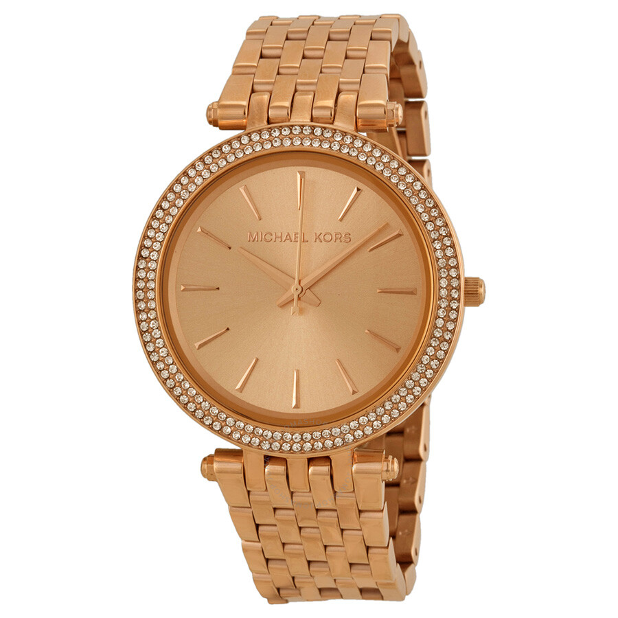 e00eaf9dbd728 Michael Kors Darci Rose Gold Dial Pave Bezel Ladies Watch MK3192 ...