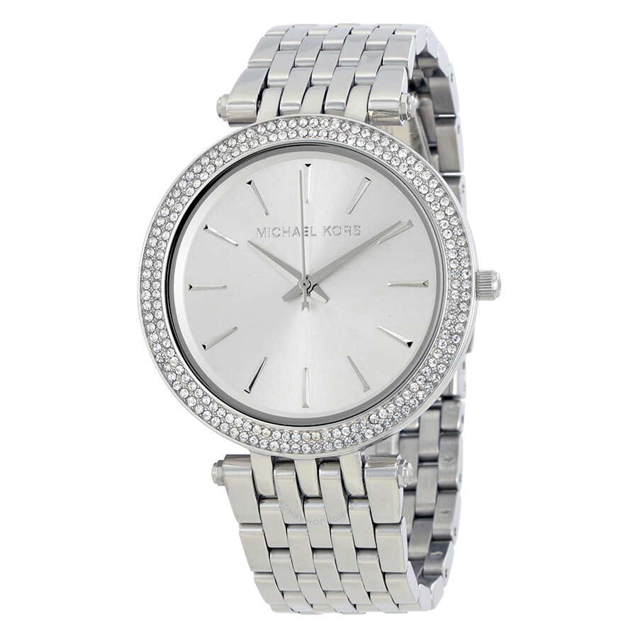 Michael kors darci silver dial pave bezel ladies watch mk3190 darci michael kors watches for Watches michael kors
