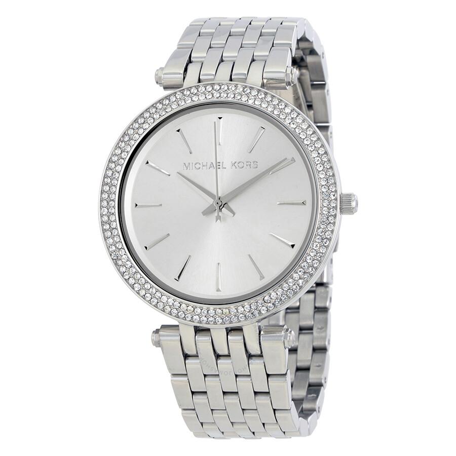 f10c19a0cb25 Michael Kors Darci Silver Dial Pave Bezel Ladies Watch MK3190 ...