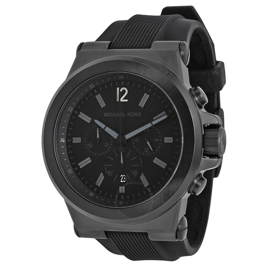 Michael kors dylan black silicone strap men 39 s watch mk8152 dylan michael kors watches for Watches michael kors