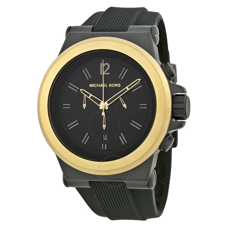 bb80c4436b83 Michael Kors Dylan Chronograph Black Dial Black Silicone Men s Watch MK8383  ...