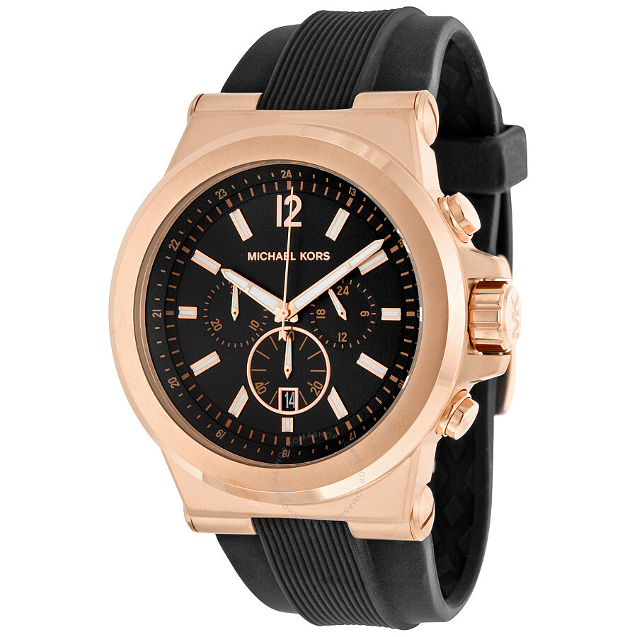 Michael kors dylan chronograph black dial black rubber men 39 s watch mk8184 dylan michael kors for Watches michael kors