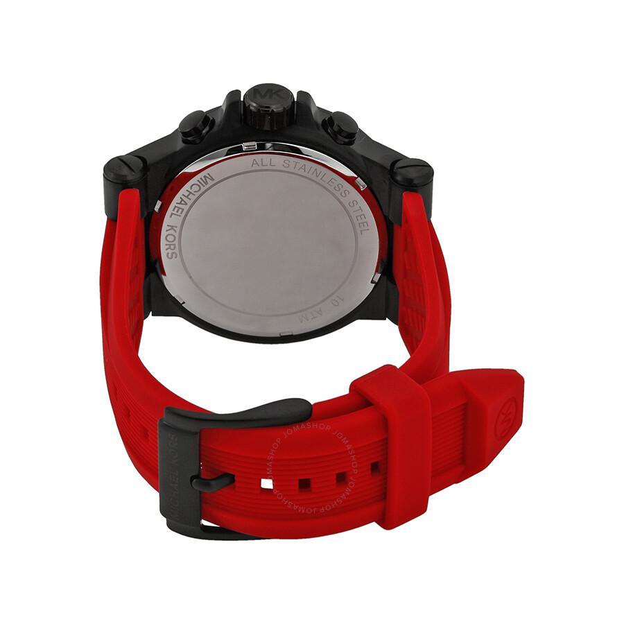 1a9987b2f0da ... Michael Kors Dylan Chronograph Black Dial Red Silicone Men s Watch  MK8382 ...