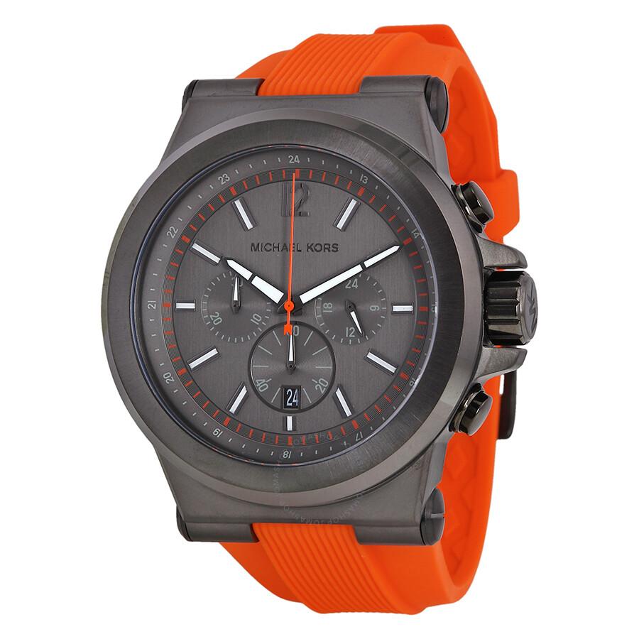 7621e3425198 Michael Kors Dylan Chronograph Gunmetal Dial Gunmetal IP Orange Rubber  Men s Watch MK8296 ...