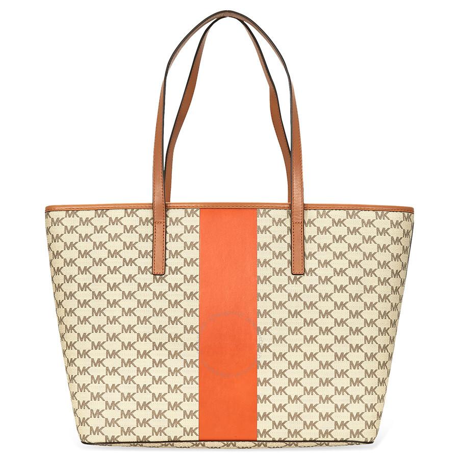 fcd14b811cbe Michael Kors Emry Large Tote - Brown Orange - Michael Kors Handbags ...