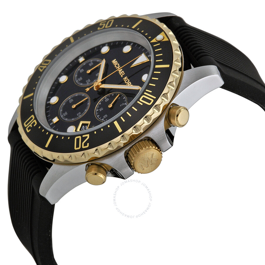 michael kors everest chronograph black black silicone
