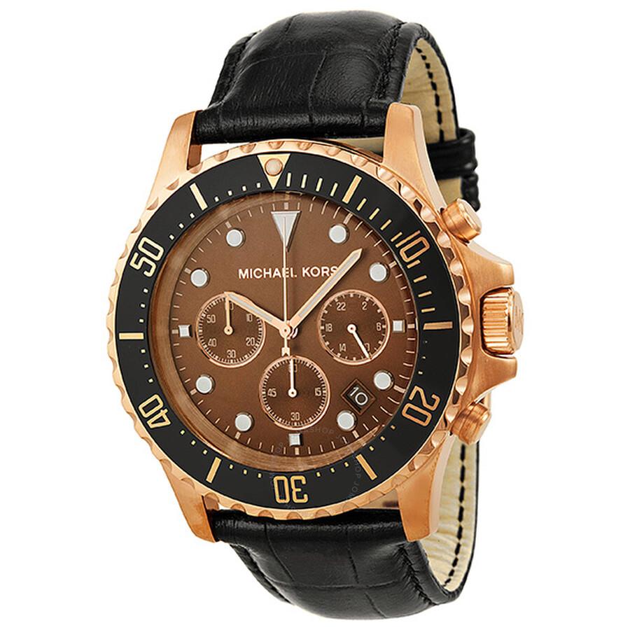 michael kors everest chronograph brown dial rose goldtone
