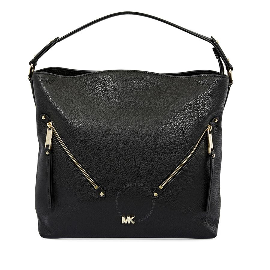 883a39e7acc7 Michael Kors Evie Large Pebbled Leather Shoulder Bag- Black Item No.  30T8GZUH7L-001