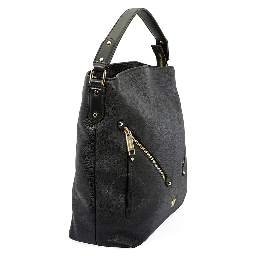 b1dbc8d7e50b Michael Kors Evie Large Pebbled Leather Shoulder Bag- Black ...