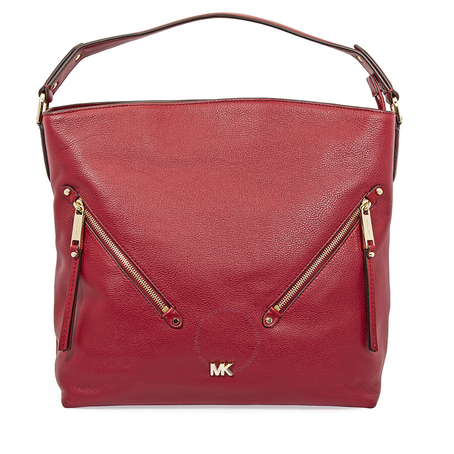 a9beccacfde Michael Kors Evie Large Pebbled Leather Shoulder Bag- Maroon ...