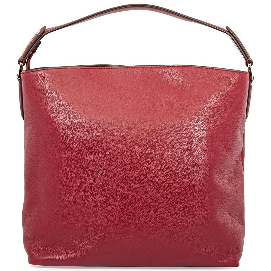 6ea71727ce95 Michael Kors Evie Large Pebbled Leather Shoulder Bag- Maroon ...