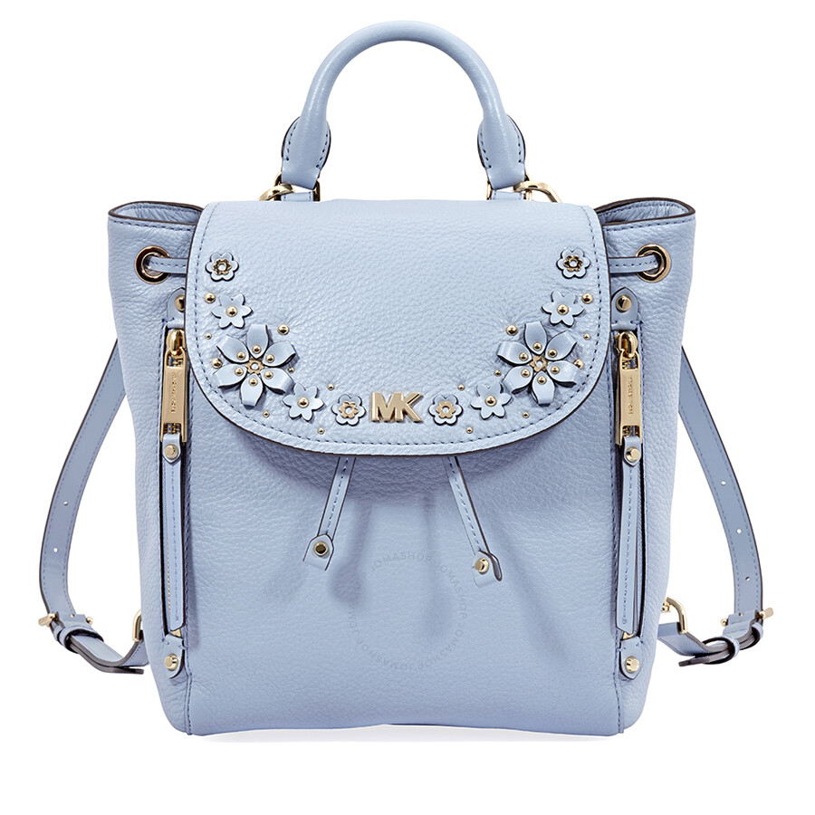 7e064400c4a2 ... gold plated leather backpack in blue b0603 7edfd official store michael  kors evie small flower garden backpack pale blue 1792c b38c8 ...