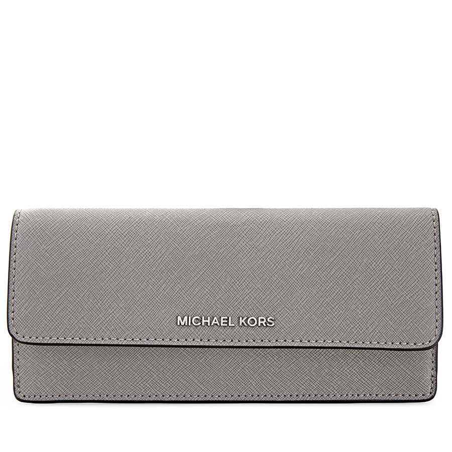 56e0adaa6cba Michael Kors Flat Jet Set Travel Wallet - Pearl Grey Item No. 32F3STVE7L-081