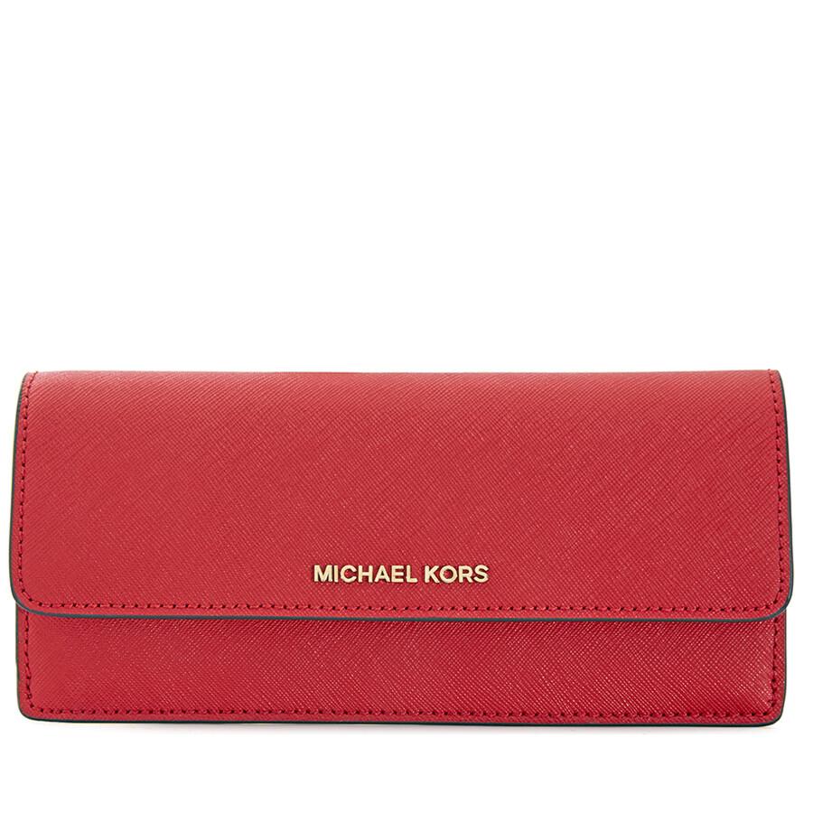 1d129d73a541b6 Michael Kors Flat Jet Set Travel Wallet- Bright Red Item No. 32F3GTVE7L-204