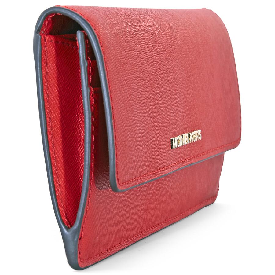 a71e7a8ed7c001 Michael Kors Flat Jet Set Travel Wallet- Bright Red - Jet Set ...