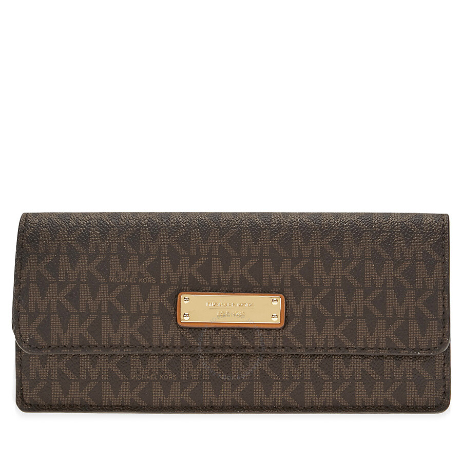 michael kors flat signature logo wallet brown michael kors rh jomashop com