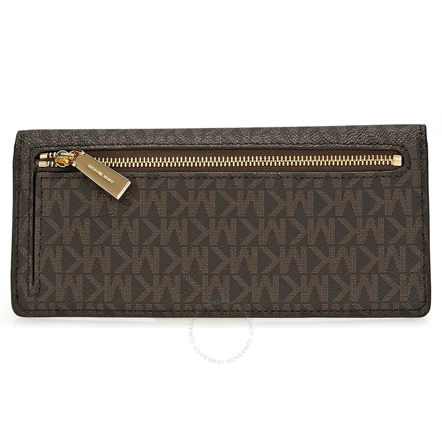 b743965f0131 Michael Kors Flat Signature Logo Wallet - Brown - Michael Kors ...