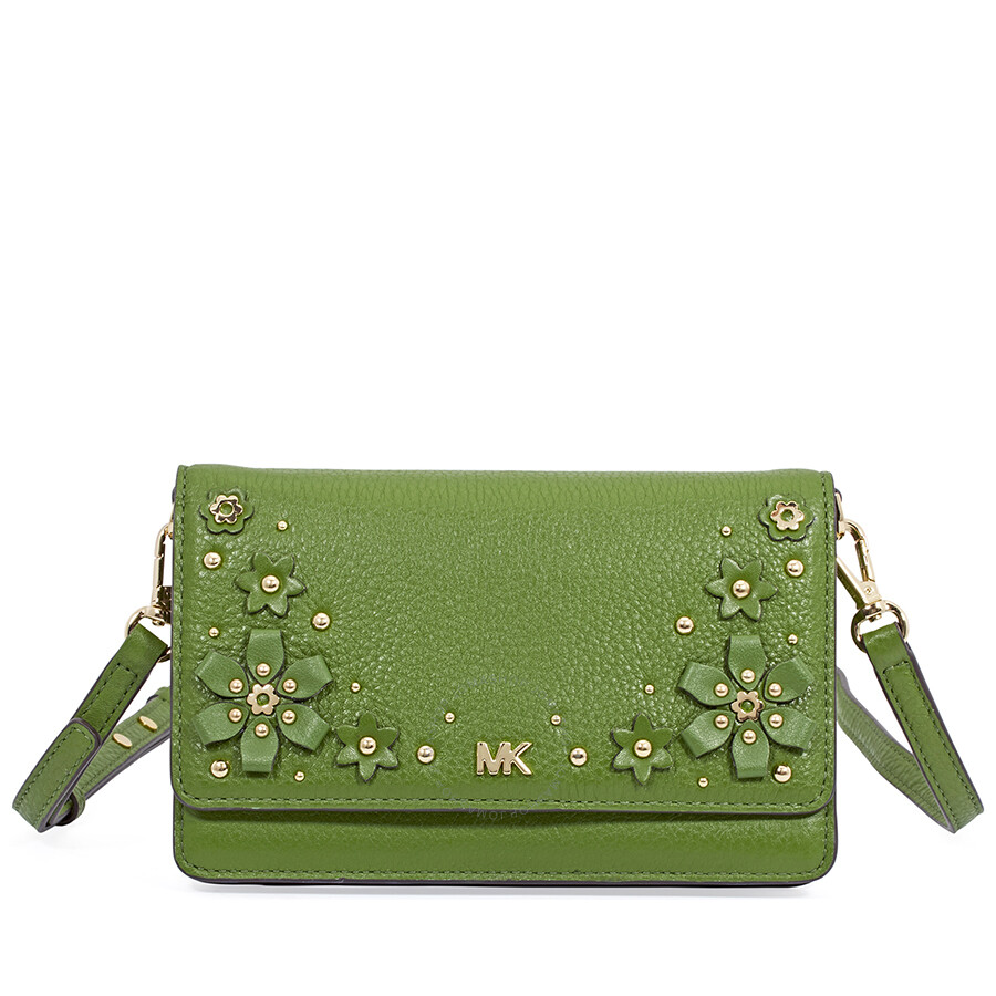 95eedd627 Michael Kors Floral Embellished Convertible Crossbody- True Green Item No.  32T8GF5C3Y-304