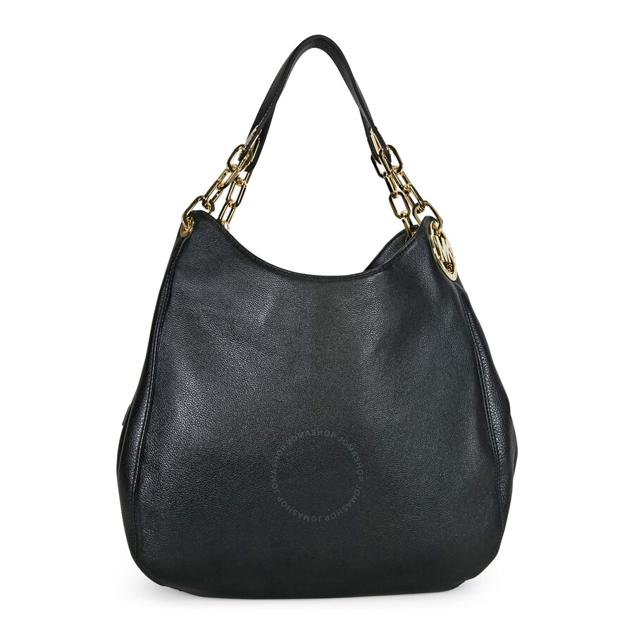 96077e3c11d2 Michael Kors Fulton Black Leather Large Shoulder Tote Item No.  30H3GFTE3L-001