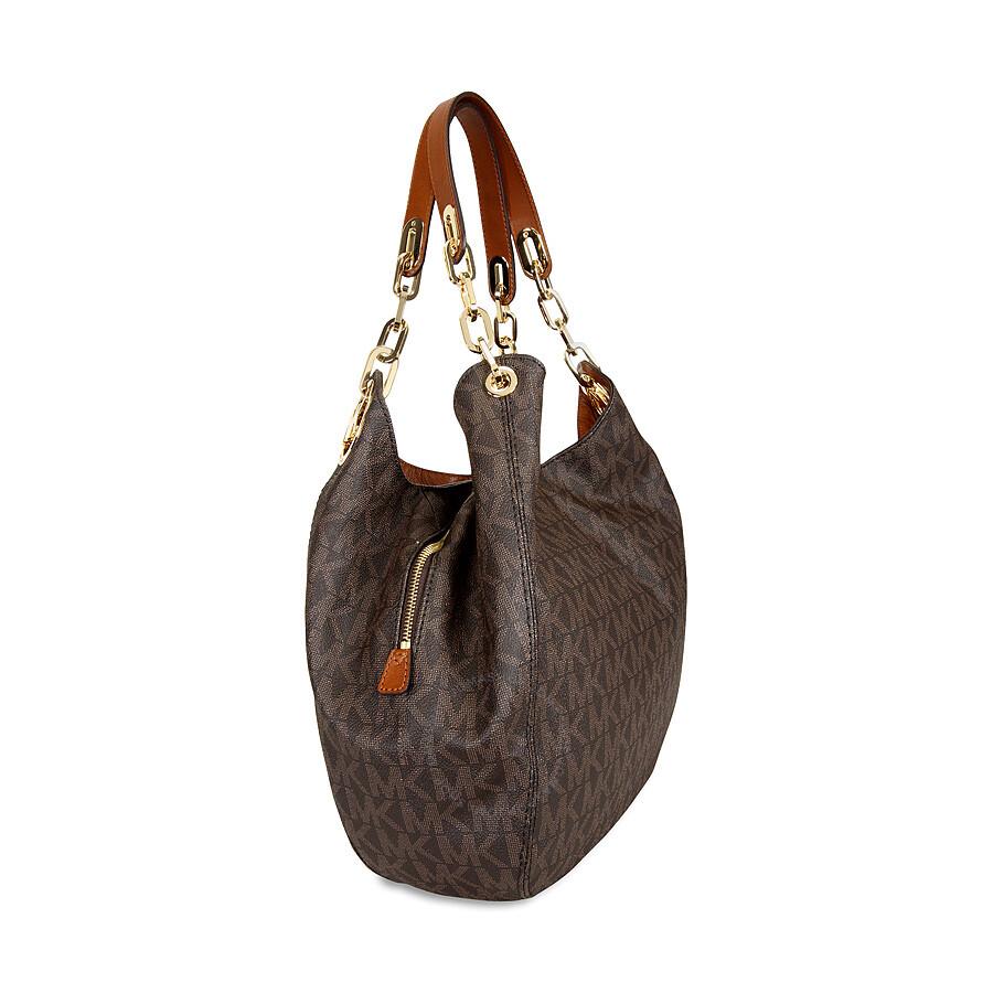 michael kors fulton large logo shoulder bag brown fulton michael kors handbags handbags. Black Bedroom Furniture Sets. Home Design Ideas