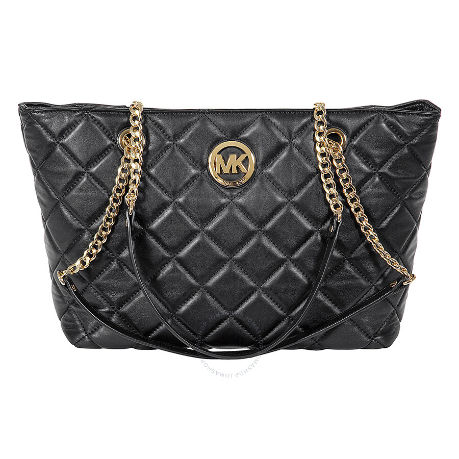 michael kors fulton large quilted tote in black michael kors rh jomashop com