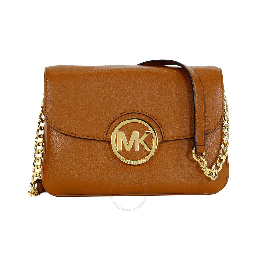 michael kors fulton leather crossbody bag luggage