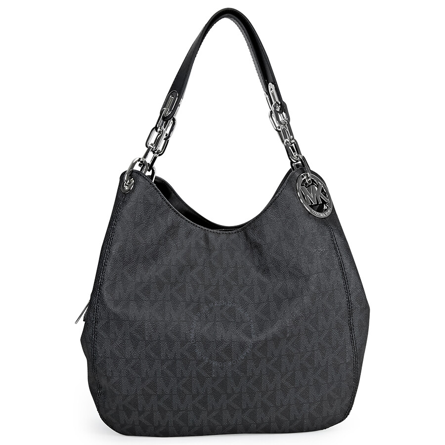 e3655425e437 Michael Kors Fulton Signature Large PVC Shoulder Bag - Black Item No.  30H4SFTL3B