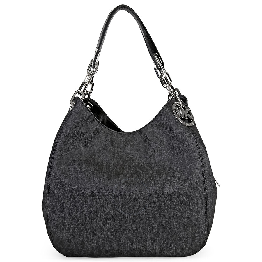 9f730469a153 Michael Kors Fulton Signature Large PVC Shoulder Bag - Black ...