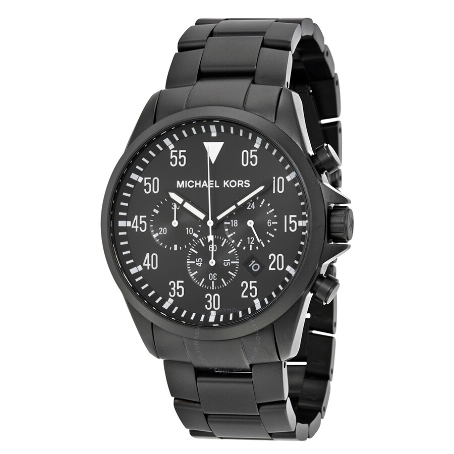 60ff07382d2c Michael Kors Gage Black Ion-Plated Stainless Steel Chronograph Men s Watch  MK8414 ...