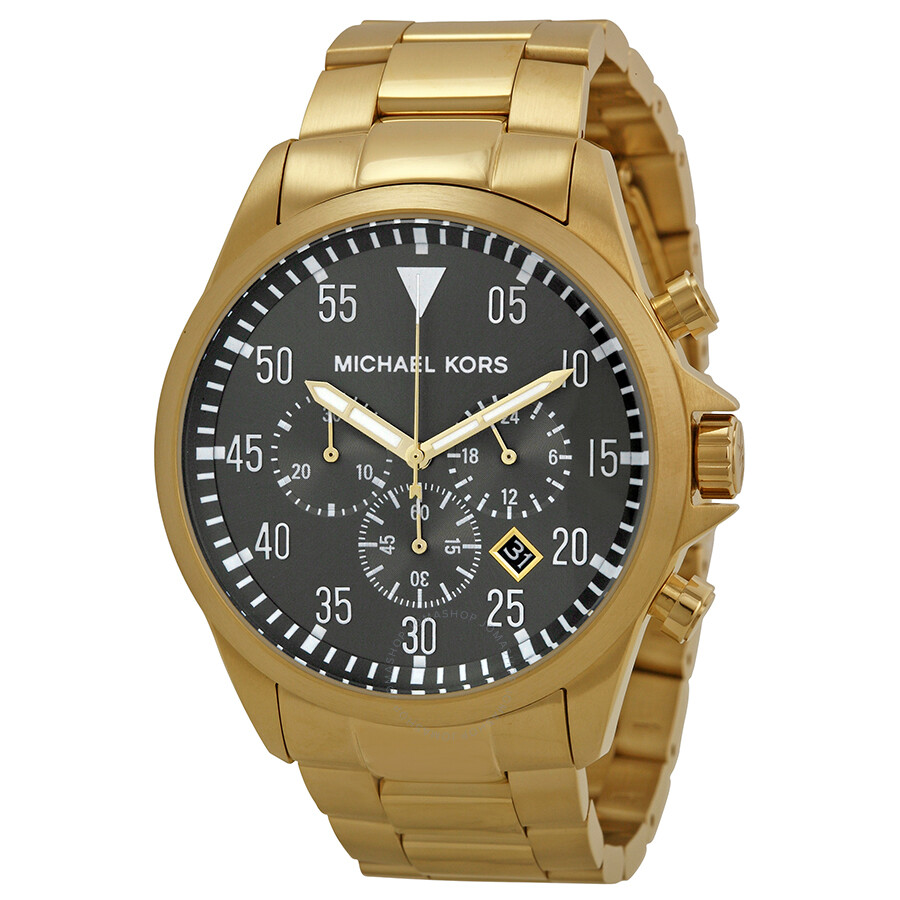 michael kors gage chronograph black gold tone s